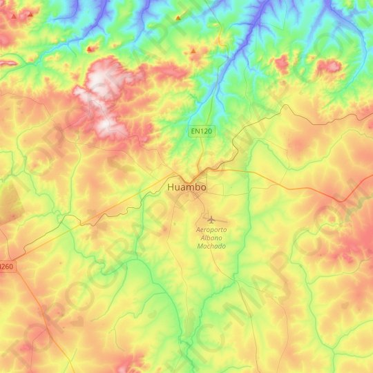 Huambo topographic map, relief map, elevations map