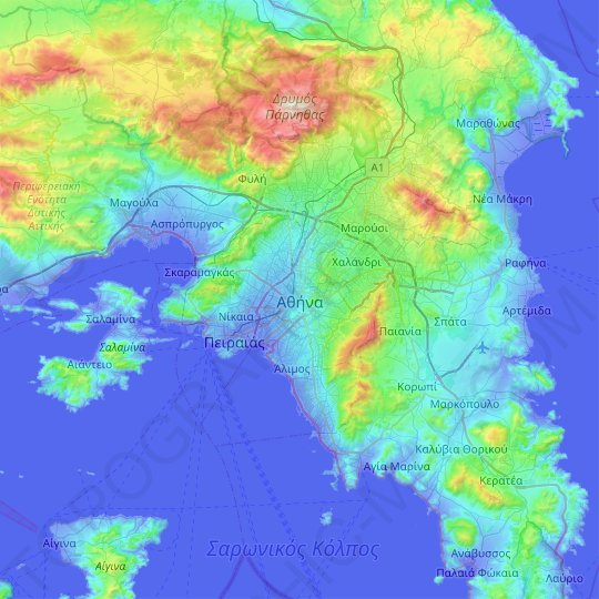 Athens topographic map, relief map, elevations map