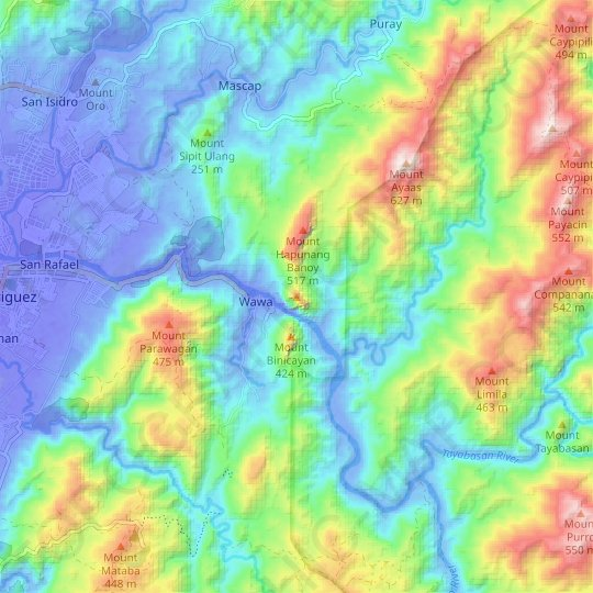Mount Pamitinan topographic map, relief map, elevations map