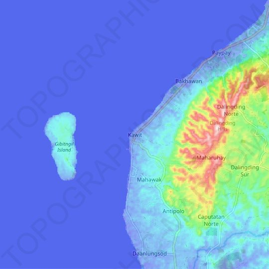 Kawit topographic map, relief map, elevations map