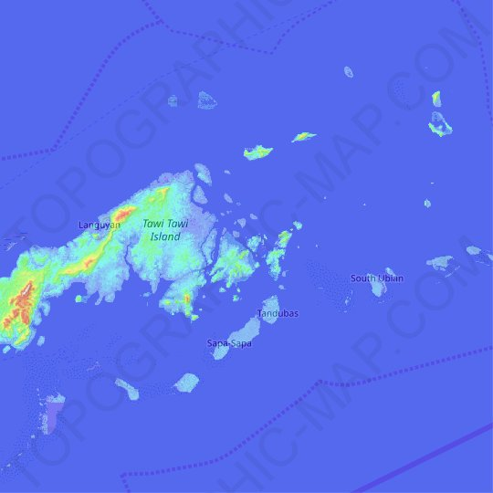 Situgal Hea Island topographic map, relief map, elevations map