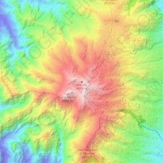 Atacazo topographic map, relief map, elevations map