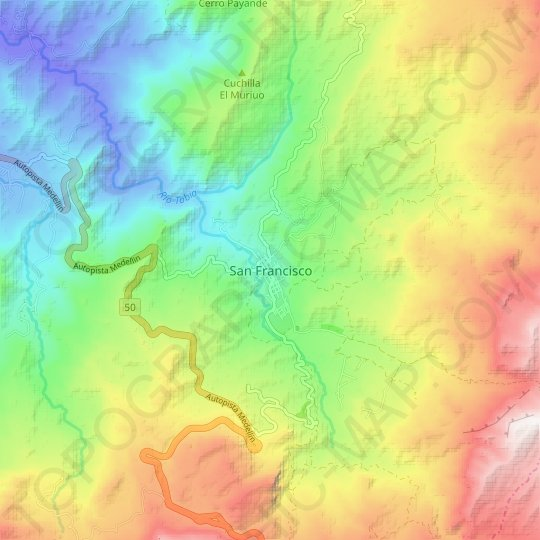 San Francisco topographic map, relief map, elevations map