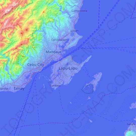 Lapu-Lapu topographic map, relief map, elevations map