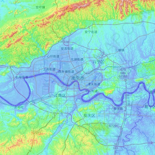 Nanning topographic map, relief map, elevations map
