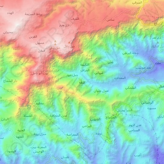Ar Raqqah topographic map, relief map, elevations map