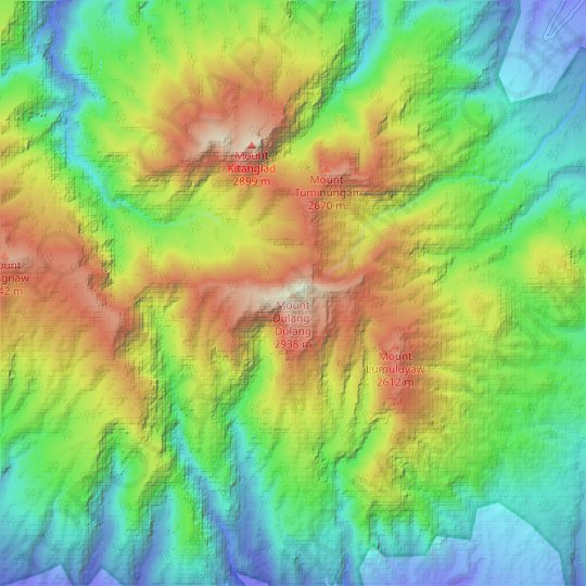 Mount Dulang-Dulang topographic map, relief map, elevations map