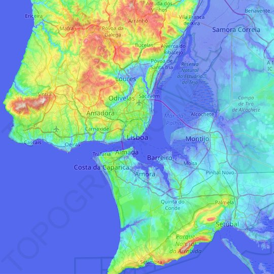 Lisbon topographic map, relief map, elevations map
