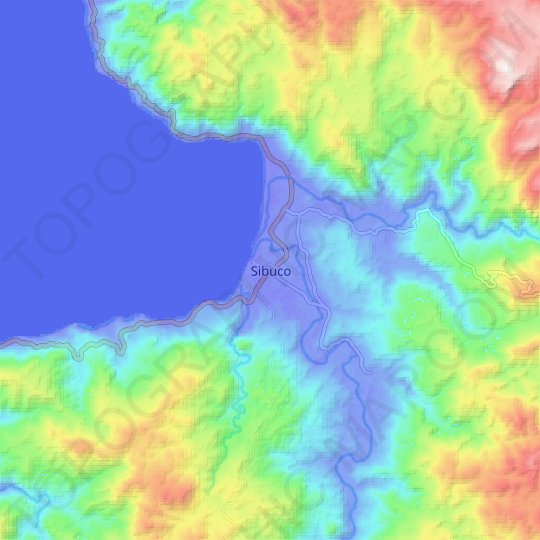 Sibuco topographic map, relief map, elevations map