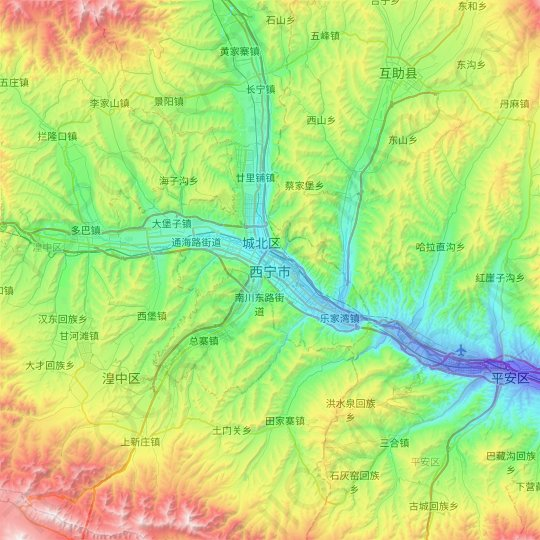 Xining topographic map, relief map, elevations map