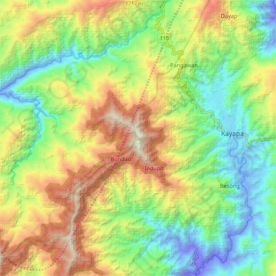 Mount Yabnong topographic map, relief map, elevations map