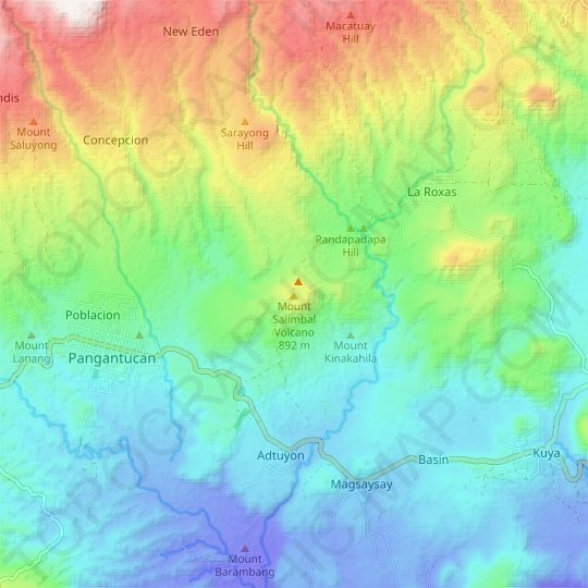 Mount Salimbal Volcano topographic map, relief map, elevations map