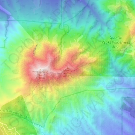 Spanish Peaks topographic map, relief map, elevations map