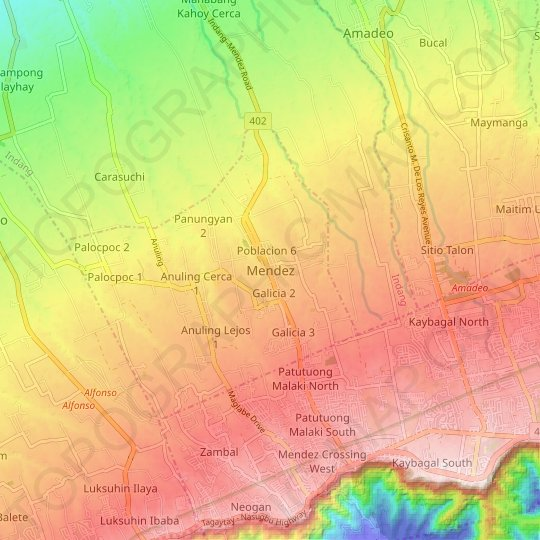 Mendez topographic map, elevation, relief