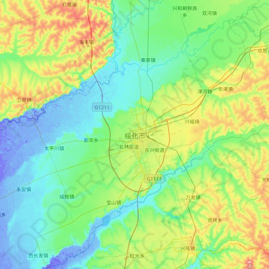 Suihua topographic map, relief map, elevations map