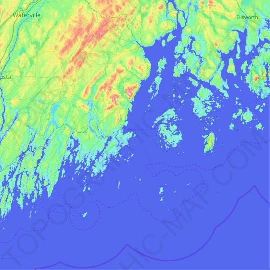 Monroe Island topographic map, relief map, elevations map
