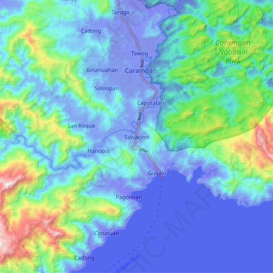 Salvacion topographic map, relief map, elevations map