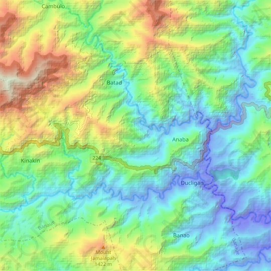 Nagkor Village topographic map, relief map, elevations map