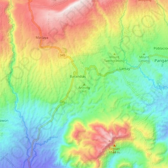 Anirong Hill topographic map, relief map, elevations map