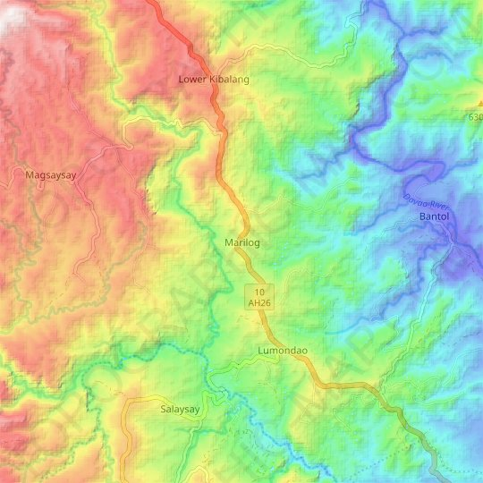 Marilog topographic map, relief map, elevations map