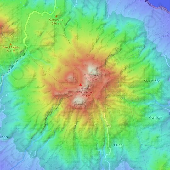 Mount Mambajao topographic map, relief map, elevations map