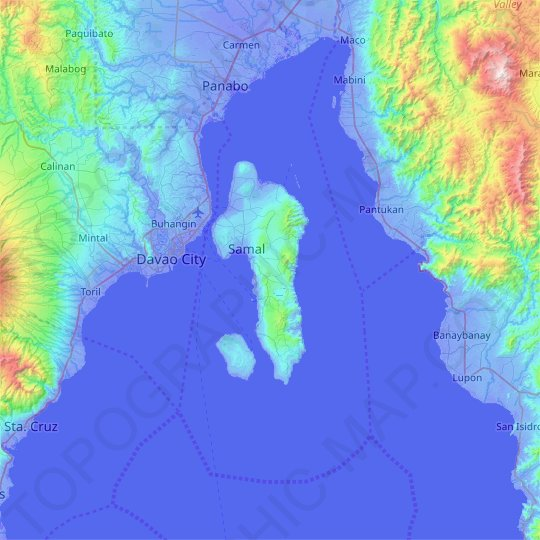 Samal Island topographic map, elevation, relief