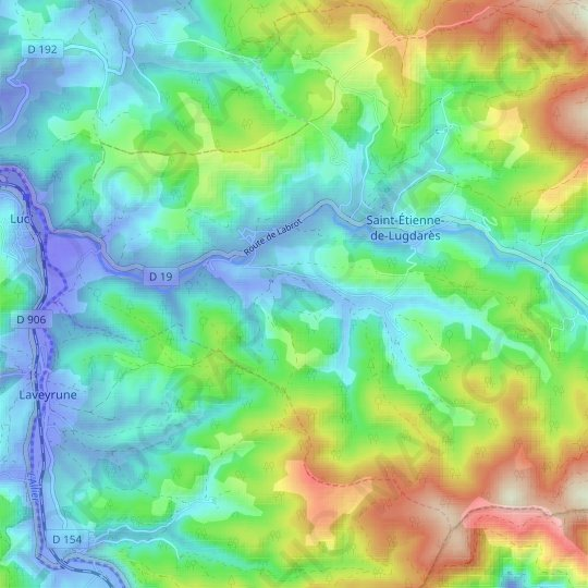La Veysseyre topographic map, relief map, elevations map