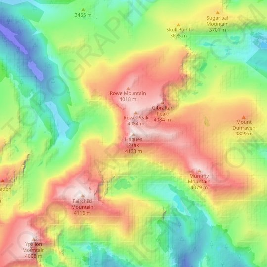Hagues Peak topographic map, relief map, elevations map