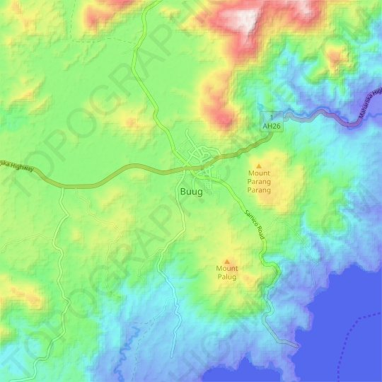 Buug topographic map, relief map, elevations map