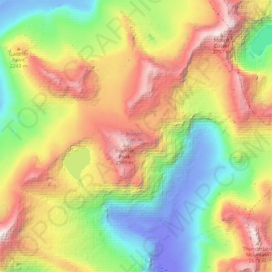Boulder Glacier topographic map, relief map, elevations map