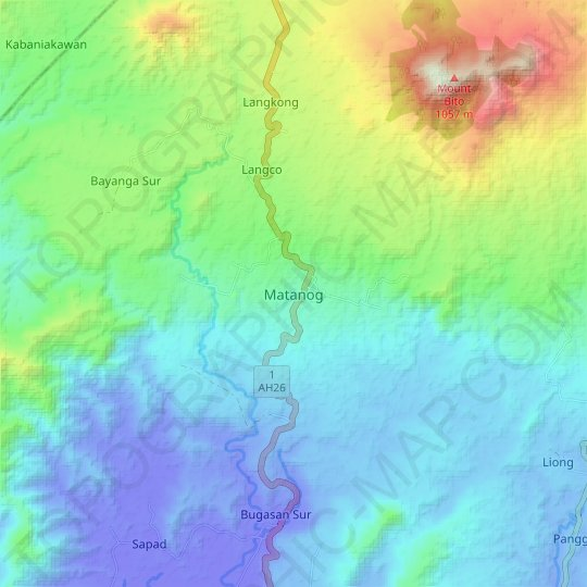 Matanog topographic map, relief map, elevations map