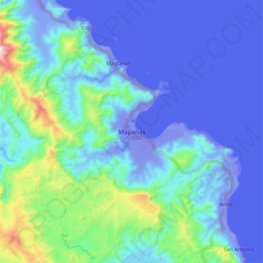 Mapanas topographic map, relief map, elevations map
