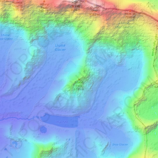 Island Peak topographic map, relief map, elevations map