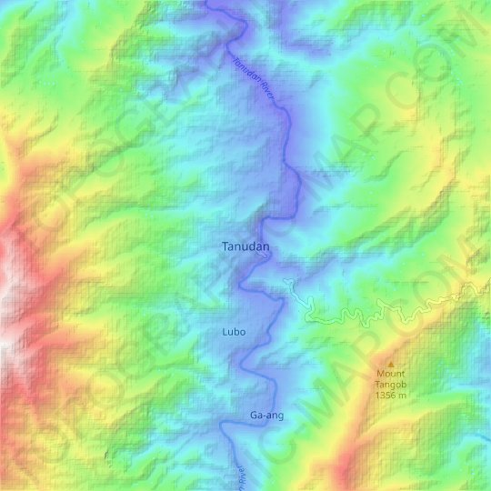 Tanudan topographic map, relief map, elevations map