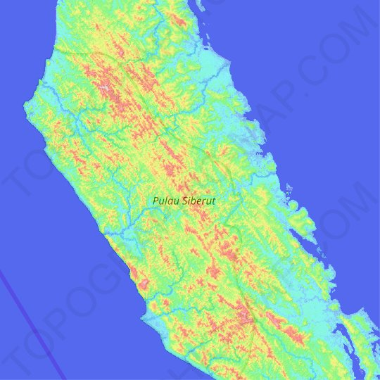 Pulau Siberut topographic map, relief map, elevations map