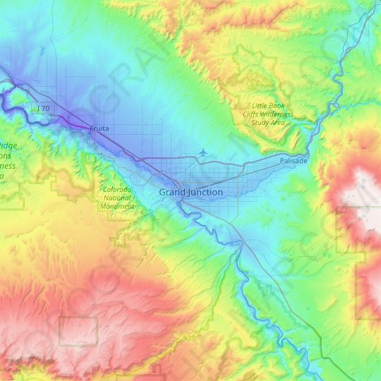 Grand Junction topographic map, elevation, relief
