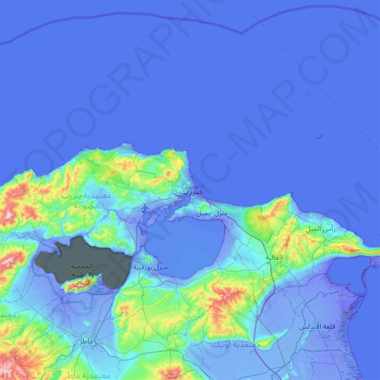 Bizerte topographic map, relief map, elevations map