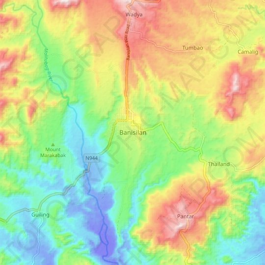 Banisilan topographic map, relief map, elevations map
