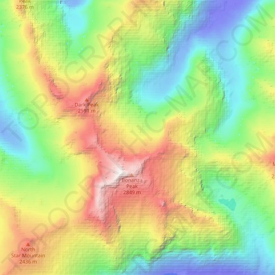 Company Glacier topographic map, relief map, elevations map