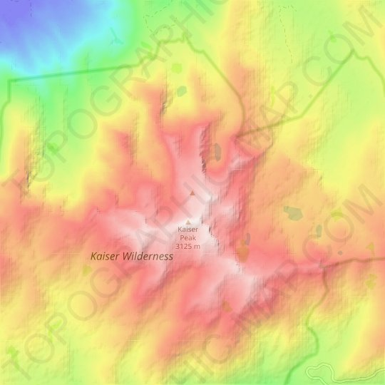 Kaiser Peak topographic map, relief map, elevations map