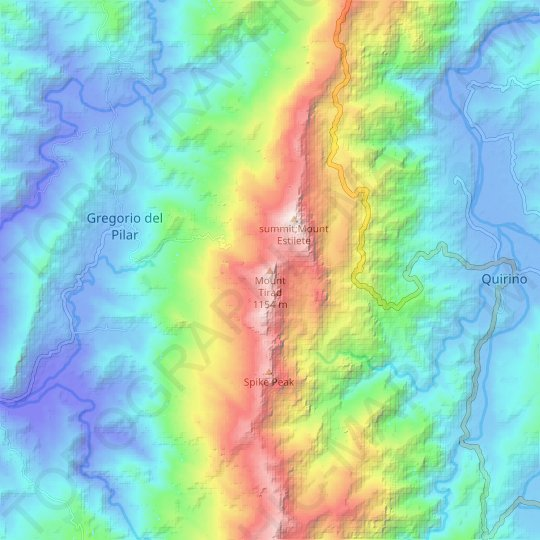 Mount Tirad topographic map, relief map, elevations map