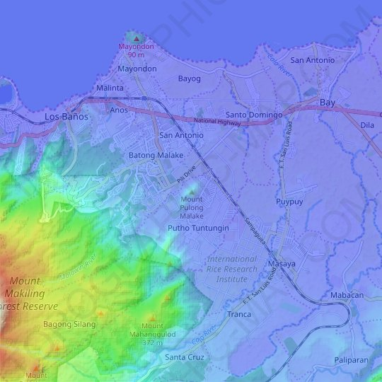 Mount Pulong Malake topographic map, relief map, elevations map