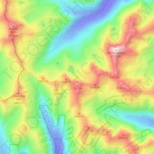 Elkhorn Mountains topographic map, relief map, elevations map