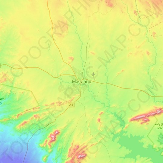 Masvingo topographic map, relief map, elevations map