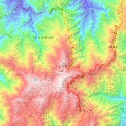Mount Osdung topographic map, relief map, elevations map