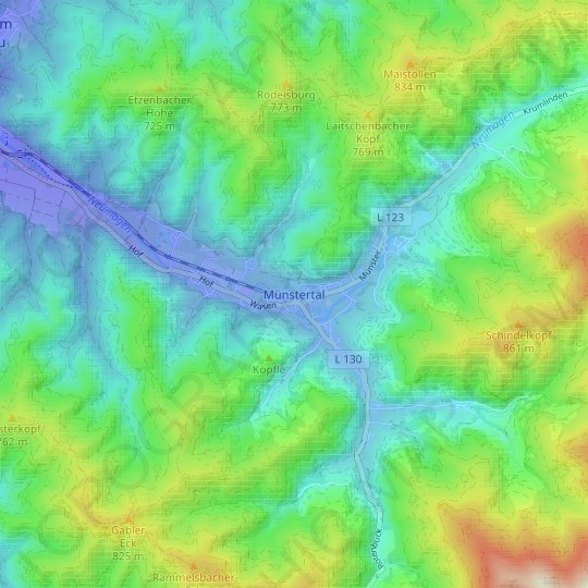 Untermünstertal topographic map, relief map, elevations map