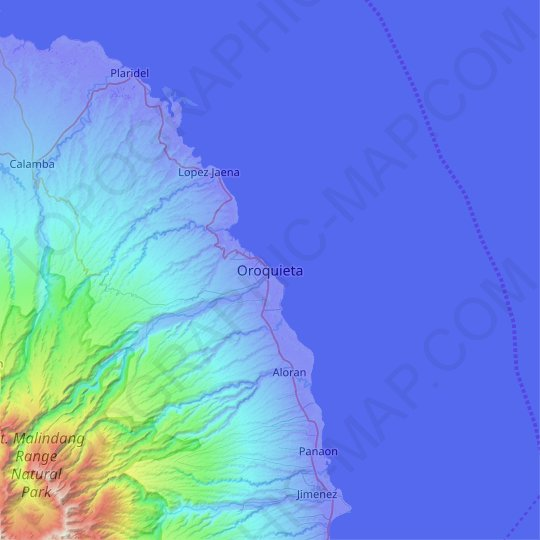 Oroquieta topographic map, relief map, elevations map