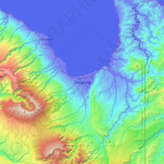 Gingoog topographic map, relief map, elevations map