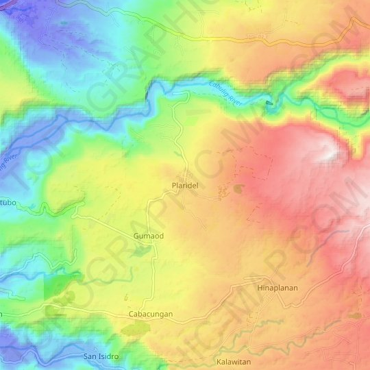 Plaridel topographic map, elevation, relief