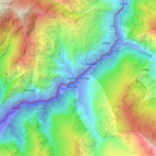 Taknaur Renge topographic map, elevation, relief